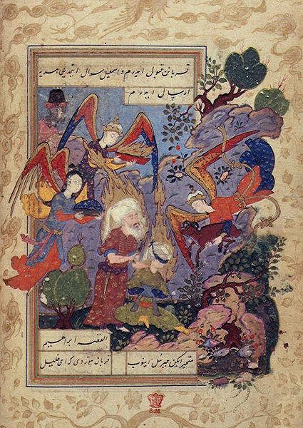 Abraham bereitet seinen Sohn für die Opferung vor, Gabriel greift im letzten Augenblick ein. Darstellung aus einer türkischen Handschrift des 16.-17. Jahrhundert. Quelle: Wikipedia (gemeinfrei)